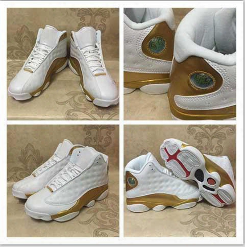 New 2017 Air Retro 13 Dmp Basketball Shoe White Gold Retro 13 Xiii High Cut 98 Defining Moments Trainers Sneakers 8-13