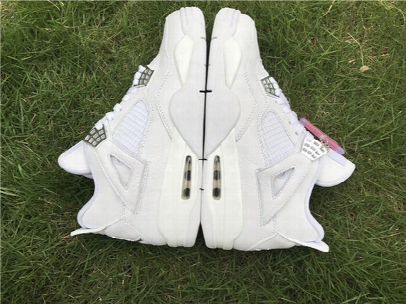 New 4 Iv Retro Pure Money White Size 13 Mens Sport Shoes Silver Boy Trainers Sneakers Good Quality Fast Shipping Sale