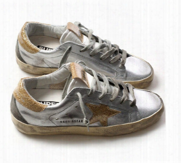 New Arrivals Italy Brand Sliver Flash Leather Gold Heel Do The Old Dirty Basketball Shoes Mens Women Ggdb Super Stars Ulzzang Sneakers