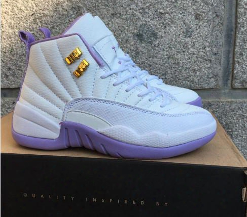New Arrive Air Retro 12 Xii Purple White France Blue Aa High Quality Gs Woman Sports Basketball Shoes Size 5.5 8.5 Freeâ shipping Sale