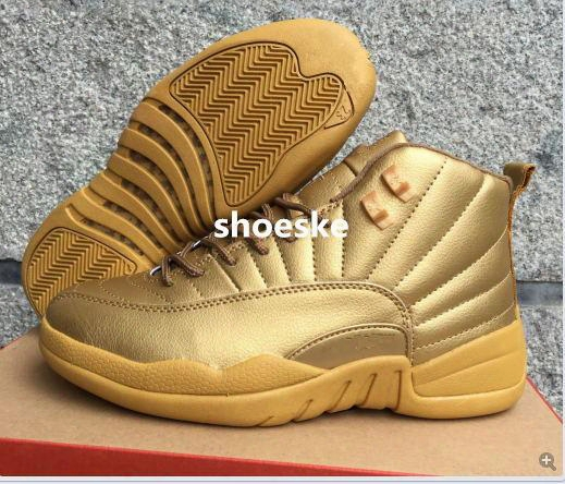 New Retro 12 Gold Mens Basketball Shoes 2016 New Metallic Gold Sport Shoes Cheap 12s Sneakers For Men Us8-13 With Box