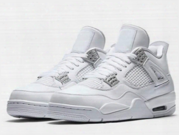 New Retro 4 Pure Money Basketball Shoes Men 4s Pure Money White And Silver Athletics Sneakers