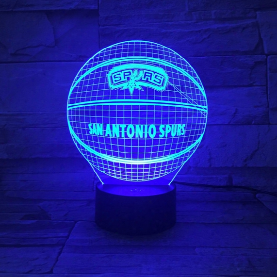 Novelty 3d Lamps Basketball Spurs Led Night Light Creative Craft Lamp 7 Colors Changing Touch Switch Indoor Decorative Luminaria