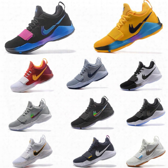 Paul George Mens Basketball Shoes Balck White Yellow Pg1 Mens Sports Athletic Tennis Sneaker Size 40-46