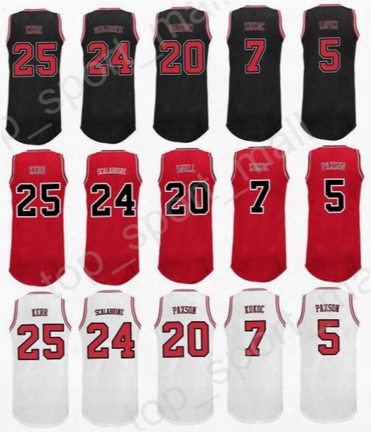 Printed 24 Brian Scalabrine Jersey 7 Toni Kukoc 20 Tony Snell 25 Steve Kerr Basketball Jerseys Sports 5 John Paxson Team Red Black White