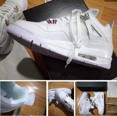 Pure Money Retro 4s White Silver Best Quality With Box Wholesale Basketball Shoes Best Quality