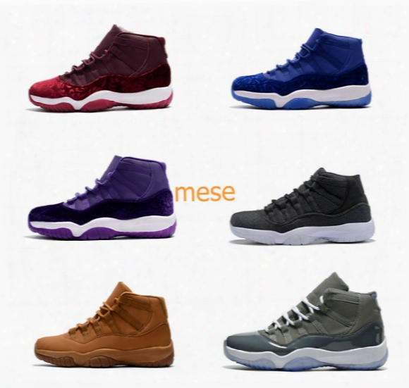 Retro 11 Velvet Heiress Wool Grey Purple Suede Space Jams 72-10 Legend Blue Men Gs Sports Basketball Shoes Sneakers 11s Athletics With Box