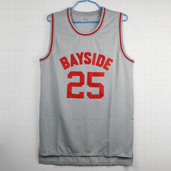 The Bell Zack Morris 25 Bayside Tigers Basketball Jersey All Sewn-gray