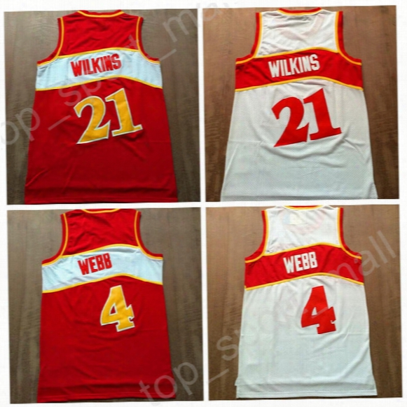Throwback 21 Dominique Wilkins Jerseys Man Basketball Vintage 4 Spud Webb Jersey For Sport Fans All Stitched Home Red Color White Hot Sale