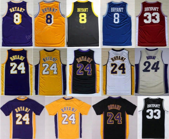 Throwback 24 Kobe Bryant Jersey 8 Men High School Lower Merion 33 Bryant Basketball Jerseys Retired Stitching Purple White Red Yellow Black