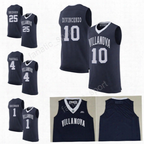 Villanova Wildcats College Jerseys Basketball 1 Jalen Brunson Jersey Men Navy Blue 25 Mikal Bridges 10 Donte Divincenzo 4 Eric Paschall