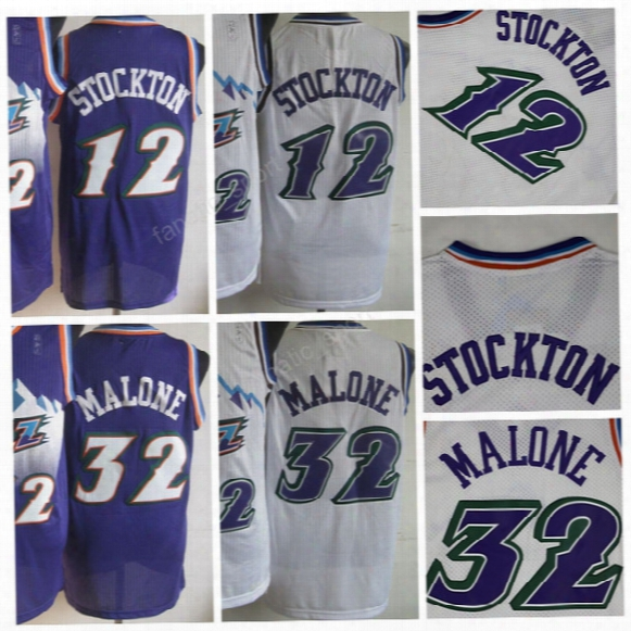 Vintage Men 32 Karl Malone Jersey Throwback Basketball 12 John Stockton Jerseys Stitched And Embroidery Color Purple White High Quality