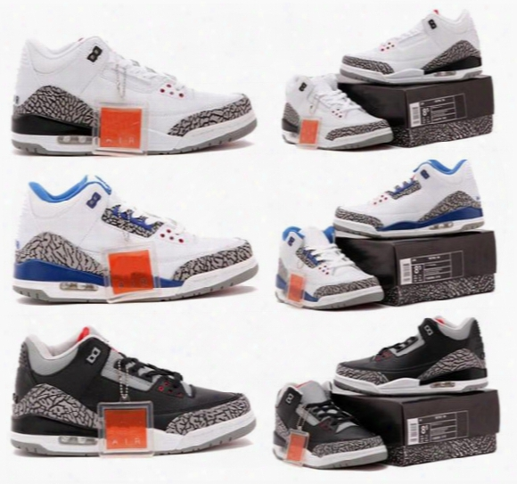 White Cement 3s Black Cement 3s Og True Blue 3s Retro 3 Men Basketball Shoes Retro Shoes With Box Wholesale Free Shipping