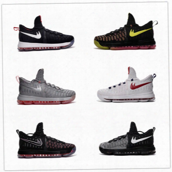 Wholesale 2016 High Quality Kevin Durant Kd 9 Basketball Shoes Kids 100% Top Kd9 Athletic Sneaker Sports Shoes Size Us 5-7