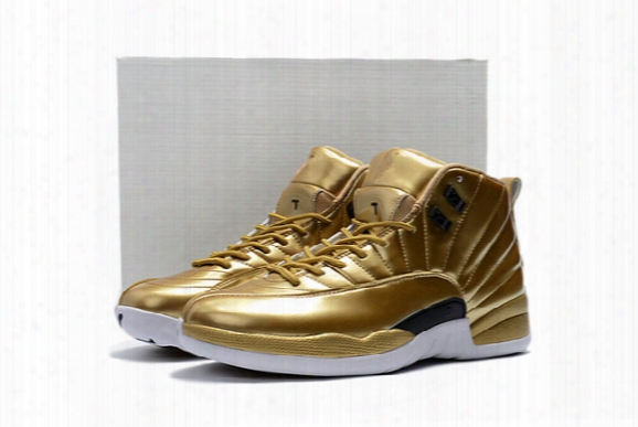 Wholesale 2016 New Arrival Drop Shipping Air Retro 12 Pinnacle Metallic Gold Mens Basketball Sport Shoes Free Shipping Eur 41-46