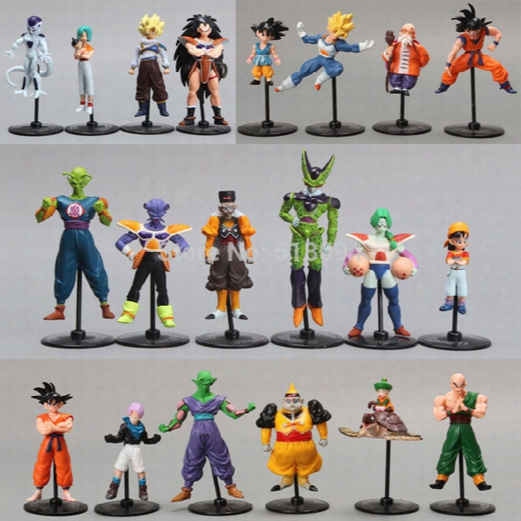 Wholesale-20pcs/set Dragon Ball Z Gt Action Figures Crazy Party 10cm Cell/freeza/goku Pvc Dragonball Figures Best Gift Dbfg177
