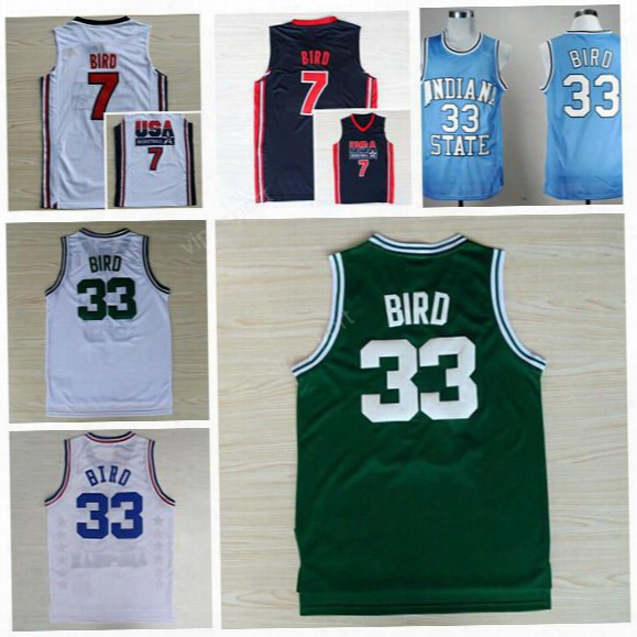 Wholesale 33 Larry Bird Jersey Men Indiana State Sycamores College 7 Larry Bird Basketball Jerseys 1992 Usa Dream Team Blue White Green