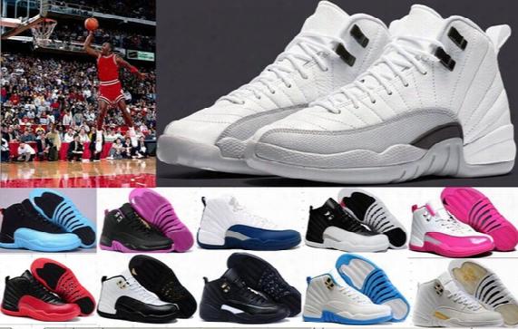 Wholesale Air Retro 12 Xii Basketball Shoes Deep Loyal Blue 12s Black White Ovo Gym Red Flu Game Shoes Women Men 12s Basketball Shoes 5-11