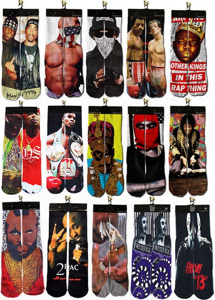 Wholesale-bandit King Rocky Tyson 2015 Cool Man's Guys Design 3d Printed Odd Future Summer Style Skate Socks Towel Bottom Basketball Socks