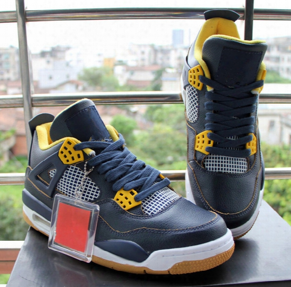 Wholesale Free Shipping Air Retro 4 Dunk From Above Midnight Navy Blue Basketball Shoes Sneakers Good Quality Version Size Us 8 13