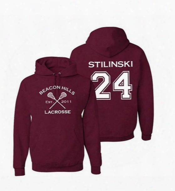 Wholesale- Men's Hoodies Beacon Hills Lacrosse 00 Hale 9 Dunbar Lahey Stilinski Maroon College Sport Jersey Pullover Accept Back Print