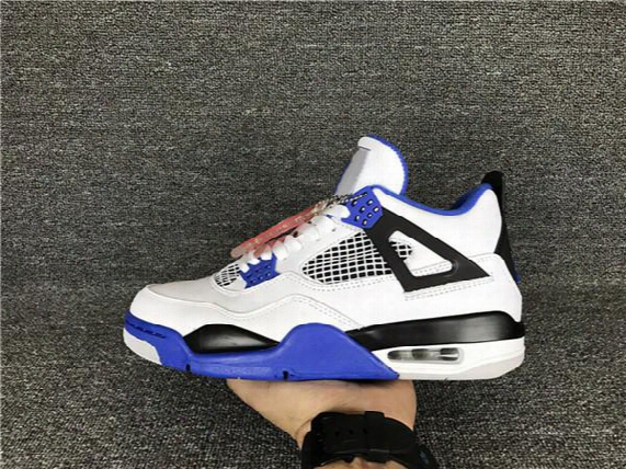 Wholesale New Air Retro 4 Iv Motorsport Blue White Men Basketball Shoes 4s Trainers Sports Sneakers High Quality Bigness 7-13