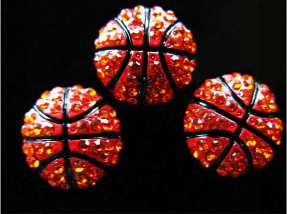 Wholesale Rhinestone Basketball 8mm Slide Charms For Charm Bracelet