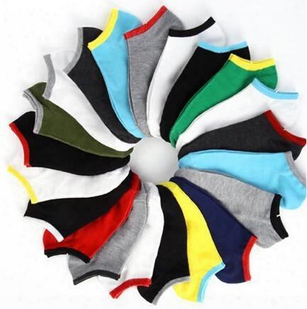Wholesale-summer Style Pure Color Socks For Men Sport Basketball Socks Cotton 2015 New Mens Boat Socks 20pcs=10pairs/lot