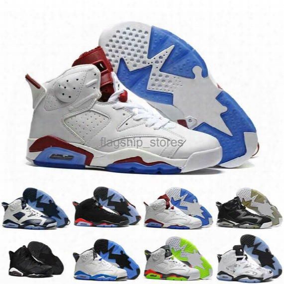 With Box Free Shipping Online Factory Outlet Good Quality White-burgundy Blue Air 6 Retro Mens Basketball Shoes Air Vi Us8 Us13