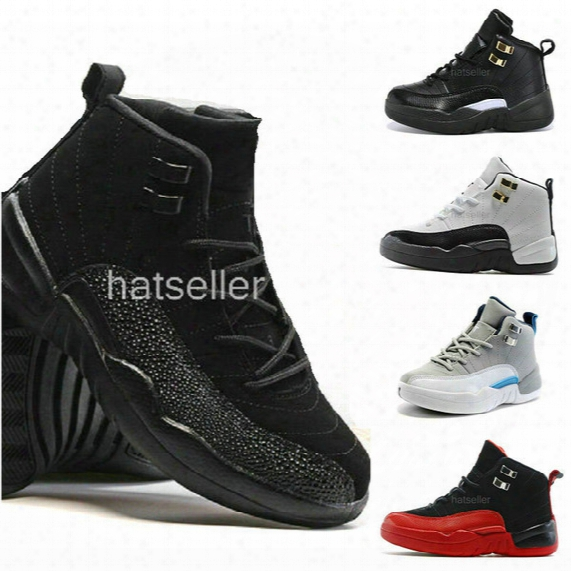 [ With Box ] Kids All Black Retro 12 Shoes Children Basketball Shoes Boys Girls Ovo 12 French Blue The Master Taxi Toddlers Us 11c-3y