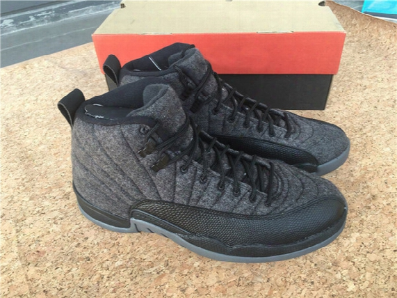 Woman Shoe 2016 Air Retro 12 Xii Wool Grey Black Nylon Hot Sell Orginal Basketball Women Shoes Sneaker Wholesale Price Sport Shoes