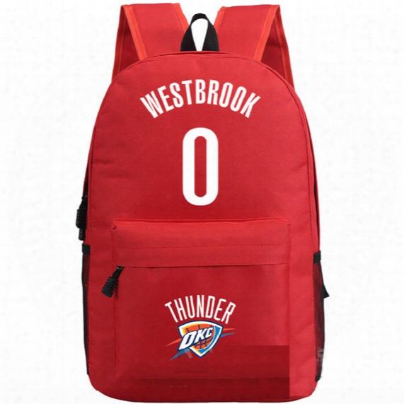 0 Letter Basketball Backpack Russell Westbrook School Bag Simple Daypack Printing Schoolbag Outdoor Rucksack Sport Day Pack