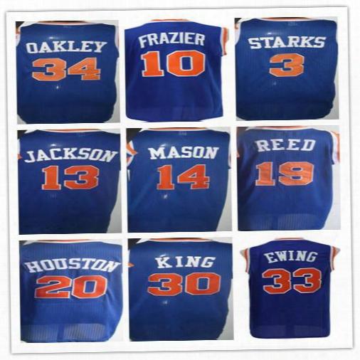 10 Walt Frazier Basketball Jerseys Throwback 13 Mark Jackson 14 Anthony Mason 19 Willis Reed 20 Allan Houston 3 John Starks 33 Patrick Ewing