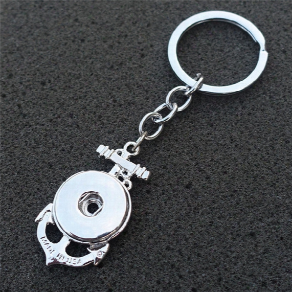 12pcs/lot Latest Design Fashion Anchor Sail Keyring Metal Ginger 18mm Snap Button Keychain 2*9.5 Cm Jewelry