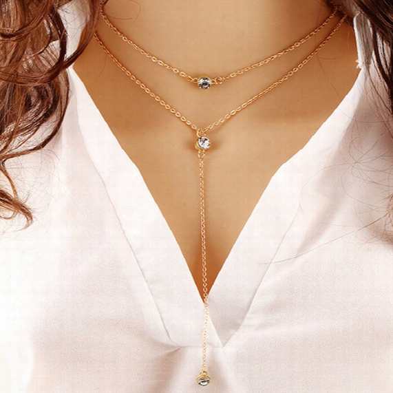 18k Yellow Gold Plated Double Rows Big Cubic Zirconia Cz Charm Tassel Chain Necklace For Women