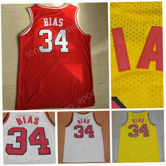 1985 Maryland Terps 34 Len Bias Jersey Men University Throwback Len Bias Basketball Jerseys Sale All Stitching Color Team Red White Yellow