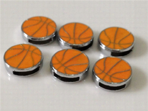 20 Pcs/lot Hot 8mm Diy Basketball Slide Charms Fit 8mm Wristband Belt Bracelets Diy Components Ball Slide Charms Bc04