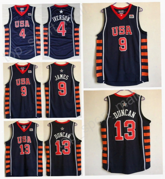 2004 Usa Basketball Jerseys Dream Team 9 Tim Duncan 13 Lebron James 4 Allen Iverson Jersey Navy Blue White Color All Stitched Good Quality