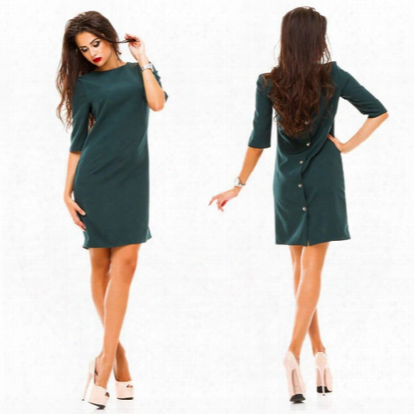 2016 Autumn New Fashion Women's Sheath Dress Casual O-neck Half Sleeved Back Row Of Buttons Dress Bodycon Vestidos Party Dresses