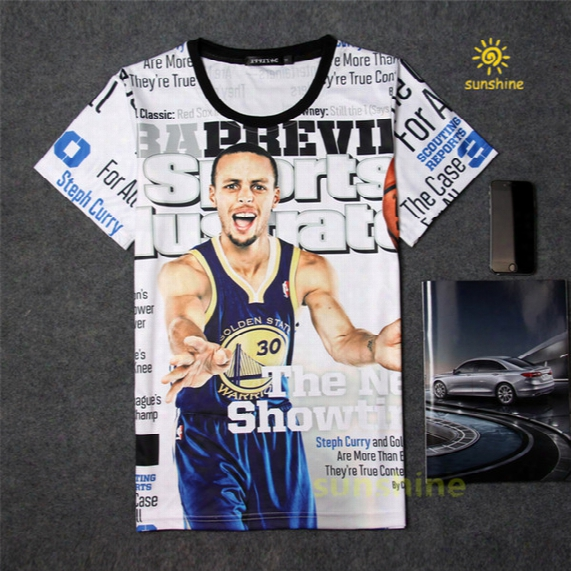 2016 Summer New Arrival 3d Print Famous Basketball Star Curry Tshirt Five Sizes Cotton Made Casual T-shirt Unisex Sweatshirt Free Shipping