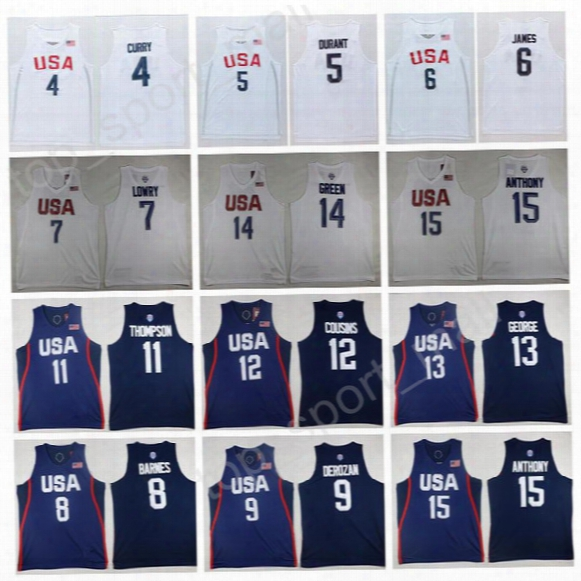 2016 Usa Dream Twelve Team Jerseys Basketball 6 Lebron James 5 Kevin Durant 4 Stephen Curry 13 Paul George 13 Paul George 9 Demar Derozan