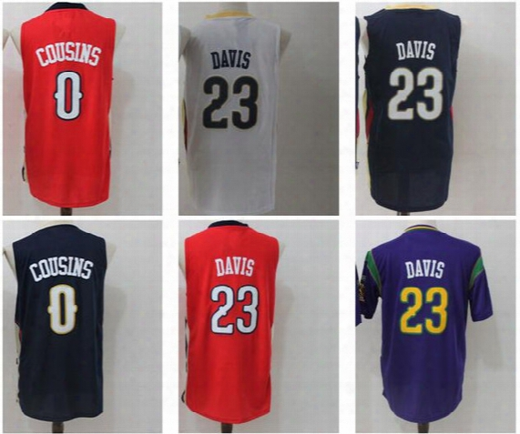 2017 Basketball Jerseys Cheap 0 Demarcus Cousins 23 Anthony Davis Jersey All Stitching For Sport Fans Navy Blue White Red Purple