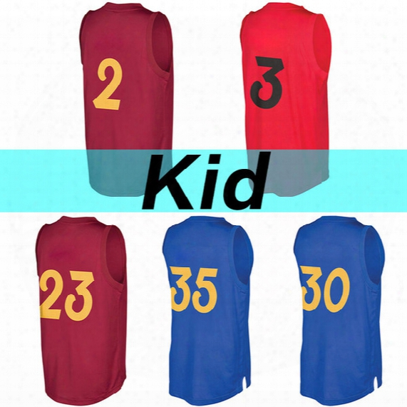 2017 Christmas Edition High Quality Youth Jersey W E #3 D T #35 C Y #30 Kid #2 J S #23 Baskatball Jerseys Kid's Jerseys Embroidery Logos
