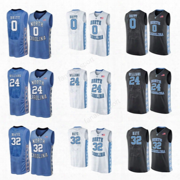 2017 College Basketball Jerseys North Carolina Tar Heels 0 Nate Britt 32 Luke Maye 24 Kenny Williams Jersey Men Black White Blue Sports
