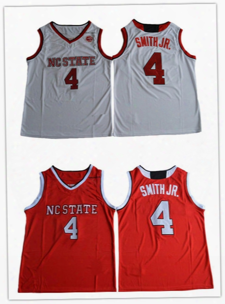2017 College Dennis Smith Jr Baskteball Jerseys Nc State Wolfpack Stitched Red White Mens 4 Dennis Smith Jr. University Jerseys Wholesale