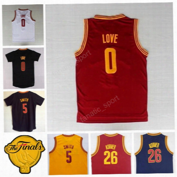 2017 Final Patch 5 Jr Smith Jersey Navy Blue White Yellow Red 26 Kyle Korver 0 Kevin Love Basketball Jerseys Sports Free Shipping