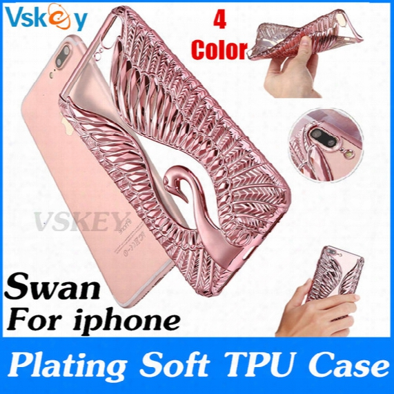 2017 Luxury Fashion Swan Soft Plating Tpu Case For Iphone 7 Plus Cute Beautiful Electroplating Soft Back Cover For Iphone 6 6s Plus