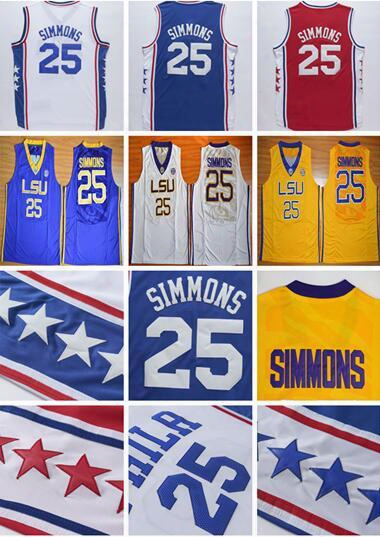 2017 Men's Stitched Lsu Tigers College #25 Ben Simmons Jersey Blue White Red Simmons College Jerseys Cheap Basketball Jersey S-xxl