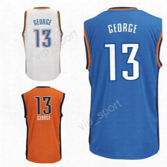 2017 New Style 13 Paul George Jersey For Sport Fans Blue White Oraneg Paul George Basketball Jerseys Westbrook Uniforms Free Shipping