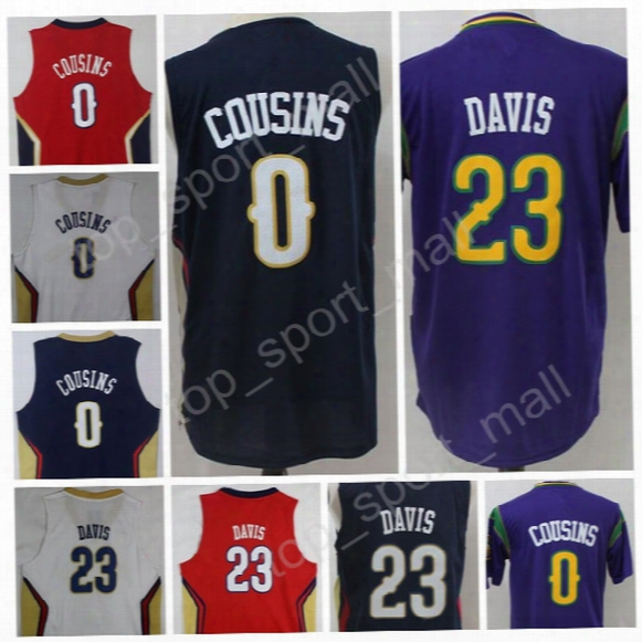 2017 Newest 0 Demarcus Cousins Jersey Navy Blue White Purple Basketball 23 Anthony Davis Jerseys All Stitched For Sport Fans High Quality